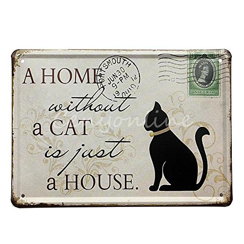 Super More Metal Pub Wall Tavern Garage Shabby Decor Chic Home Bar Vintage Sign Tin Plaque (Cat + Coffee)