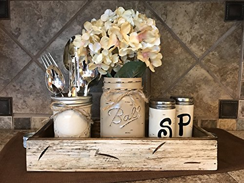 Ball Mason Jar KITCHEN Table Centerpiece SET Antique WHITE TRAY ~Salt and Pepper Shakers, Pint Vase Jar with FLOWER~Distressed Painted Jars, Accessory Holder Green Brown Cream White Tan Blue (Mediterranean Set Table)