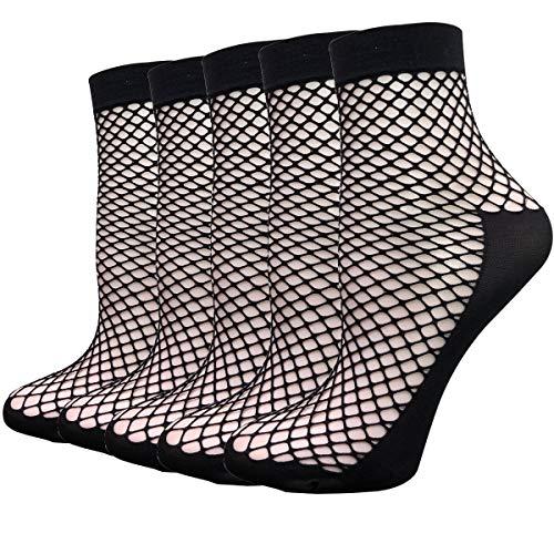 5 Pairs Thin Transparent Socks Women Fishnet Lace Sheer Anklet Cityelf Elastic Mesh Silk Stockings (one size fits all, black fishnet)