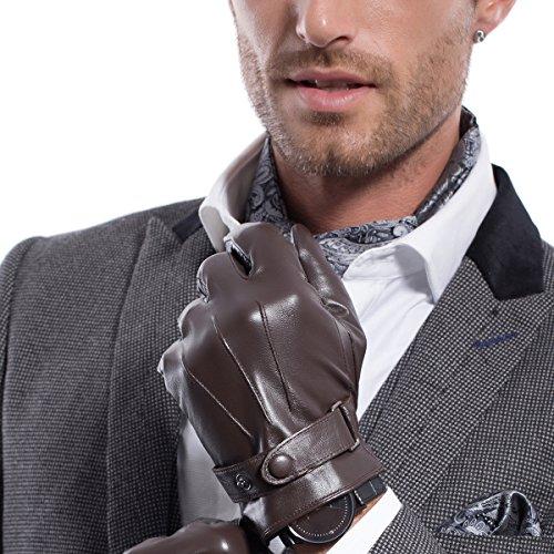 MATSU Men Winter Super Warm Lambksin Touchscreen Texting Driving Leather Gloves M2011(Cashmere/Long fleece lining)