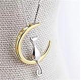 Heyuni. Women's Girls' Cat and Moon Collar Pendant Necklaces