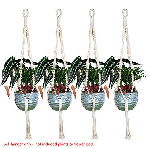 [해외]NATFUR Handmade Crude Cotton Pot Holder SimpleTassel Hanging Basket Flower Hanger 762 |Tassel. 4pcs. S-74cm / NATFUR Handmade Crude Cotton Pot Holder SimpleTassel Hanging Basket Flower Hanger 762 |Tassel. 4pcs. S-74cm