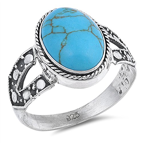 Large Oval Simulated Turquoise Bali Rope Halo Ring New 925 Sterling Silver Band Size 9