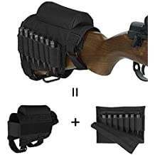 GVN Portable Adjustable Tactical Buttstock Shell Holder Cheek Rest Pouch Holder Pack With Ammo Carrier Case (Black/FDE)
