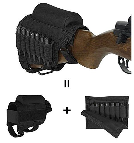 GVN Portable Adjustable Tactical Buttstock Shell Holder Cheek Rest Pouch Holder Pack With Ammo Carrier Case Black -