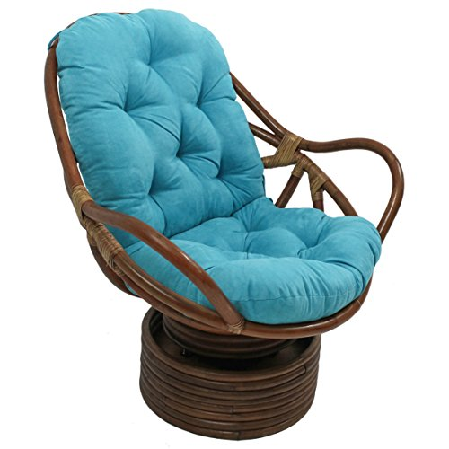 "Blazing Needles Solid Microsuede Swivel Rocker Chair Cushion, 48"" x 24"", Aqua Blue"