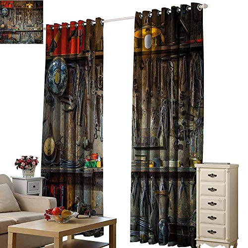 Man Cave Decor Sliding Curtains Vintage Tools Hanging On A Wall in A Tool Shed Workshop Fixing Equipment Darkening and Thermal Insulating W120 x L96 Multicolor