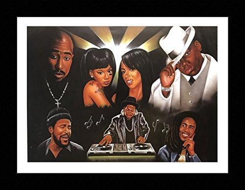 US Art Black 1.5 inch Framed with MISSING YOU, (AFRICAN AMERICAN ART/RAPPERS/2PAC, BIG B, AALIYAH, BOB MARLEY) BLACK ART 12x16 Inch, J. BROWN Print Poster