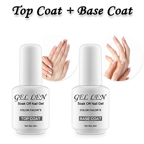 Gellen Top Coat And Base Coat for Gel Polish - Long lasting Shine Finish, 0.33 fl oz Each Bottle