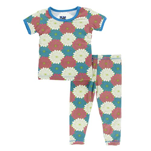 Girls Print Short Sleeve Pajama Set, Tropical Flowers, 2T ()