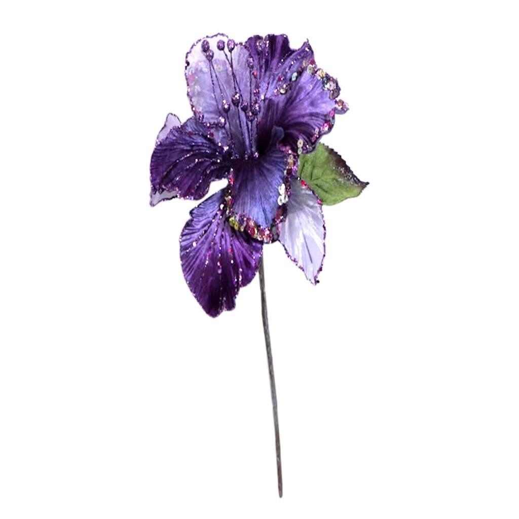 27'' Purple Glitter Amaryllis 7.5'' Flwr