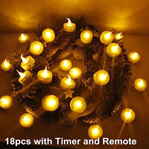 Set of 18 tea light LED candles with remote.