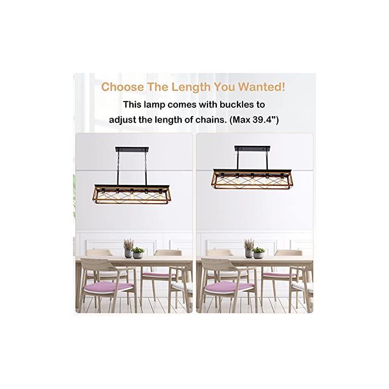 HMVPL 5-Lights Industrial Swag Chandeliers Pendant Lighting Fixtures, Farmhouse Hanging Ceiling Island Light for Kitchen…