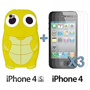 Turtle Style 3D Silicone For LG G2 Case CoverYellow with 3 Screen Protectors