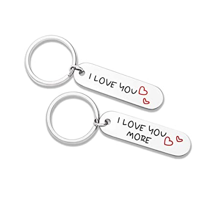 eea89b8e14 Couple Keychains Set Gifts for Him Her I Love You More Mothers Fathers Day Key  Chain