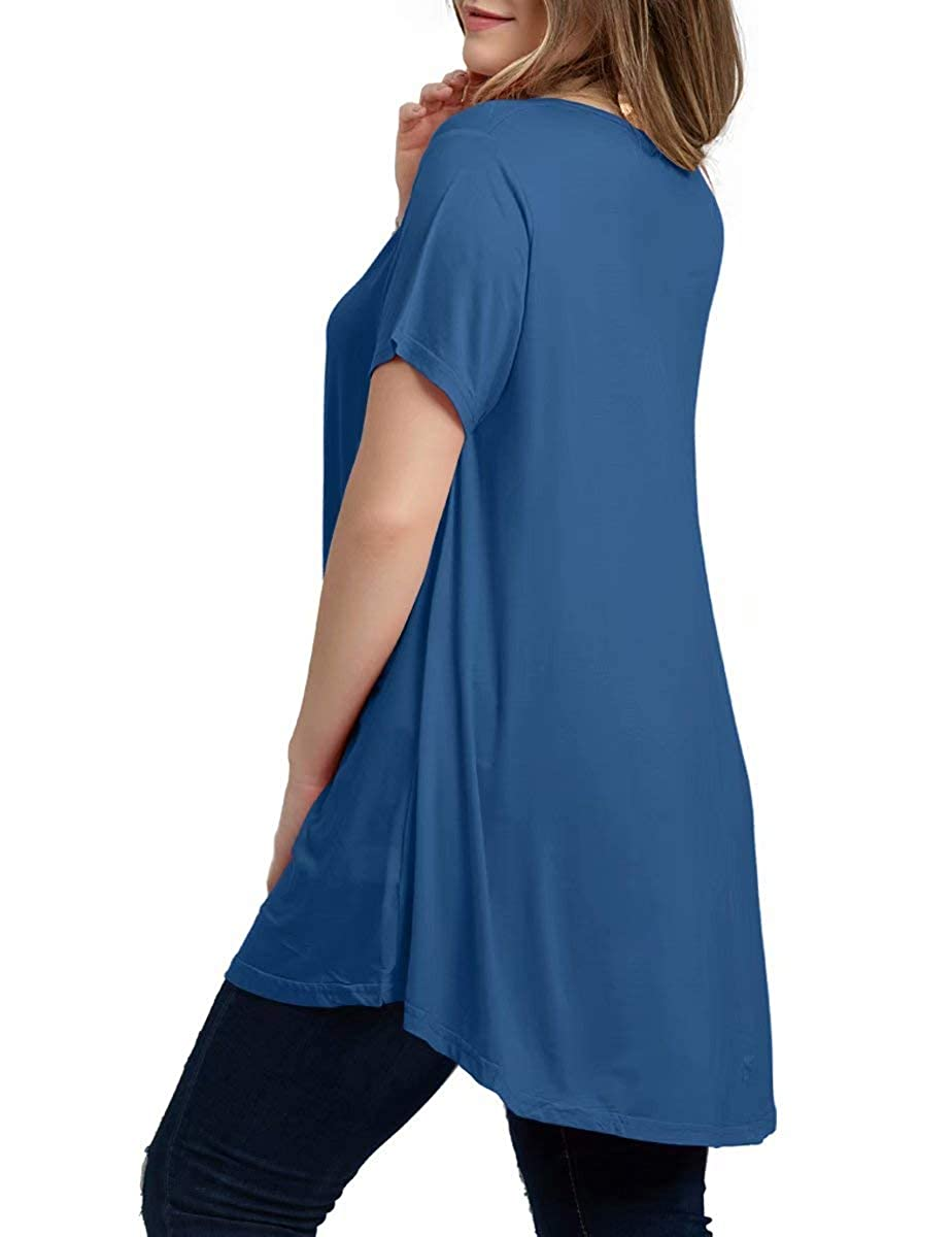 ZENNILO Womens Casual Loose Fit Swing Tunic Tops for Leggings Basic Plus Size T Shirt
