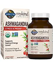 Organic Ashwagandha Stress, Mood & Energy Support Supplement with Probiotics & Ginger Root for Digestion, Vegan, Gluten Free