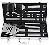 grilljoy 20pcs BBQ Grill Tools Set, Stainless Steel Accessories in Aluminum Storage Case, Complete Outdoor Grilling Barbecue Utensils, Prefect Birthday Gift for Men