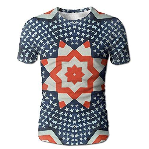 Vcddjns4 Stars and Stripe Mens O-Neck Shirt Short Sleeve Baseball Jersey Top