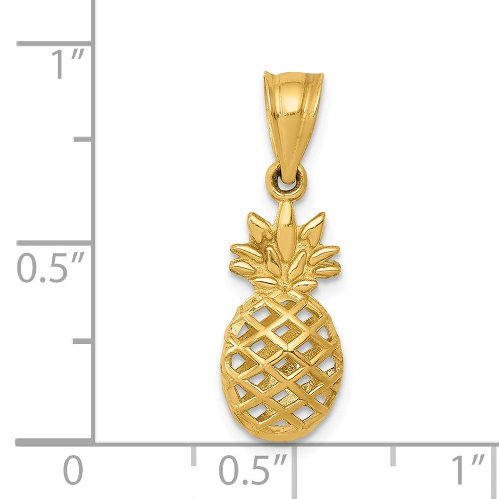 14K Yellow Gold Jewelry Pendants /& Charms Solid Polished 3D Pineapple Pendant