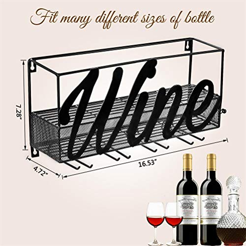 CSmile Iron Wine Rack Wall Mounted Black Wine Glass Rack Wine Cork Holder Gifts Come with Wine Opener by CSmile (Image #3)