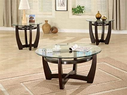 Bon 700295 Occasional 3 Pc Glass Top Coffee/End Table Set By