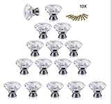 Kitchen Cabinet Doors Replacement Xshelley 16Pcs 30mm Crystal Glass Diamond Shaped Cabinet Door Knob Drawer Pull Handle Kitchen Wardrobe Home Hardware