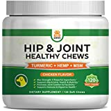 Hip & Joint Supplement for Dogs - Hemp Oil Infused Soft Chews Dog Treats w/Glucosamine, Turmeric, Chondroitin, MSM & Omega 3 6 9 - Supports Pet Mobility, Pain Relief & Arthritis - 120 Treat Bites
