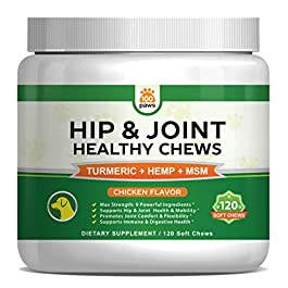 Hip & Joint Supplement for Dogs – Hemp Oil Infused Soft Chews Dog Treats w/Glucosamine, Turmeric, Chondroitin, MSM & Omega 3 6 9 – Supports Pet Mobility & Pain Relief – 120 Treat Bites