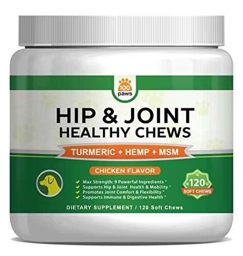 Hip & Joint Supplement for Dogs - Hemp Oil Infused Soft Chews Dog Treats w/Glucosamine, Turmeric, Chondroitin, MSM & Omega 3 6 9 - Supports Pet Mobility & Pain Relief - 120 Treat Bites from 100 Paws