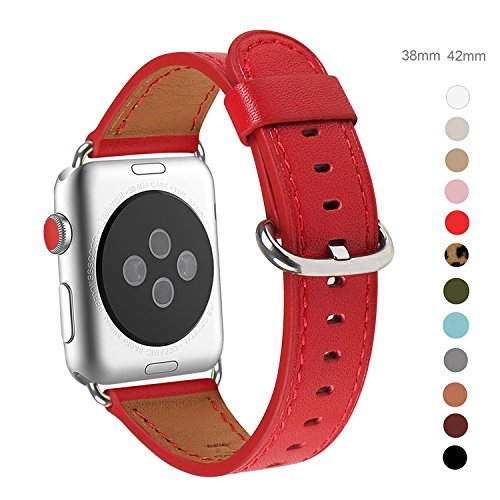 Apple Watch Band 42mm, WFEAGL Retro Top Grain Genuine Leather Band with Stainless Steel Clasp for iWatch Series 3,Series 2,Series 1,Sport, Edition (42mm Red Band+Silver Buckle)