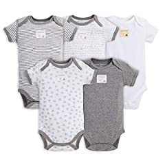 Burt's Bees Baby - 5-Pack Short & Long Sleeve Bodysuits - Sometimes the basics are simply the best. Our long & short-sleeved 100% GOTS certified* organic cotton bodysuits feature our lap shoulder style for easy on and off, and our sig...