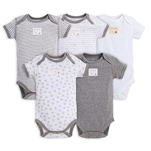 Burt's Bees Baby Baby, 5-Pack Long Sleeve & Short Sleeve One-Piece Bodysuits, Organic Cotton, Heather Grey Prints, 6-9 ()