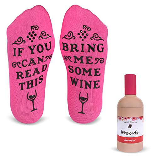 (Cavertin Bring Me Wine Funny Socks with Gift Packaging |Perfect Birthday Gift Idea for Her | Gag Gift For Mother's Day (Pink))