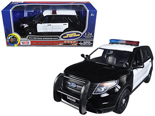 Motormax 79536 2015 Ford Police Interceptor Utility Black & White with Flashing Light bar, Front & Rear Lights & 2 Sounds 1/24 Diecast Model Car ()