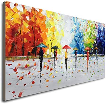 100 Hand-Painted Abstract Landscape Wall Art People Walking Modern Oil Painting