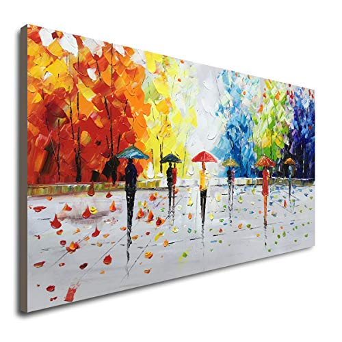 100% Hand-Painted Abstract Landscape Wall Art People Walking Modern Oil -