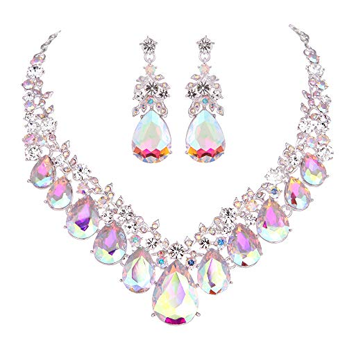 Youfir Bridal Rhinestone Crystal V-Shaped Teardrop Wedding Necklace and Earring Jewelry Sets for Brides Formal Dress (Crystal AB)