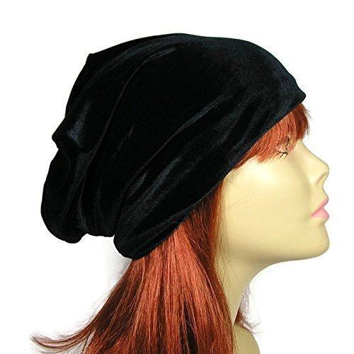 (Velvet Slouchy Hat Black Velvet Slouchy Hat Chemo Caps Hats for Hair Loss Glam Chemo Caps Velvet Slouchy Beanies Women's Slouchy Beanies Velvet Beanies Velvet Slouchy Tams )