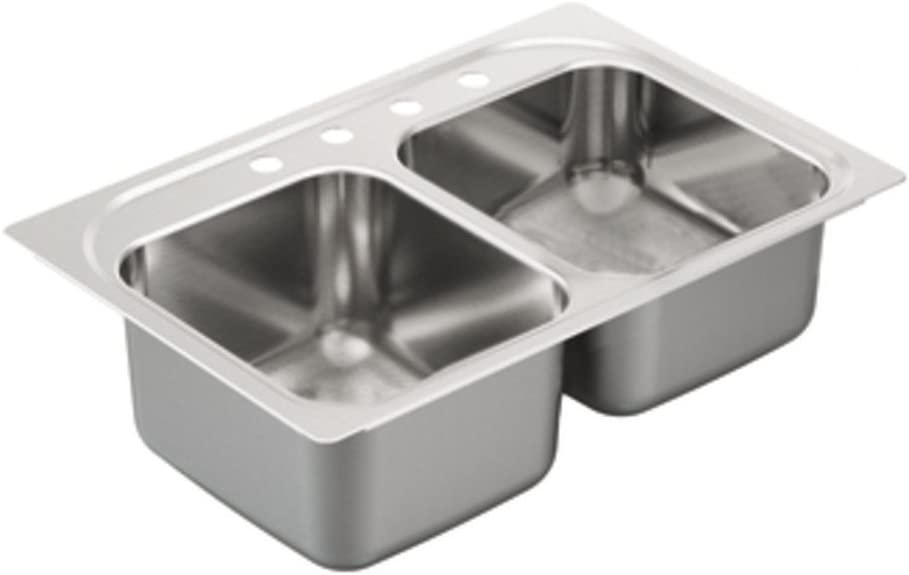 Moen G202334 2000 Series Double Bowl Drop in sink, 20-Gauge, Stainless Steel