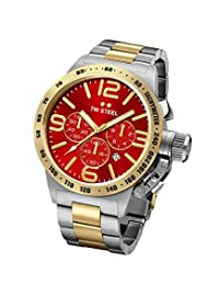 TW Steel CB73 Men's Canteen Red Dial Two Tone Yellow Gold Plated Steel Bracelet Chronograph Watch