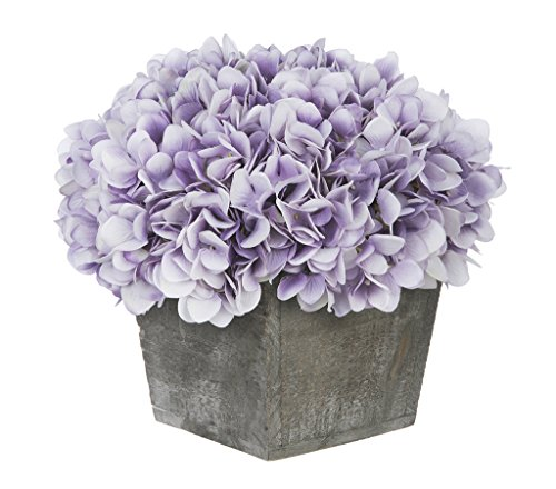 s Artificial Hydrangea in Grey-Washed Wood Cube (Lavender) ()