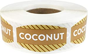 Coconut Grocery Store Food Labels .75 x 1.375 Inch Oval Shape 500 Total Adhesive Stickers