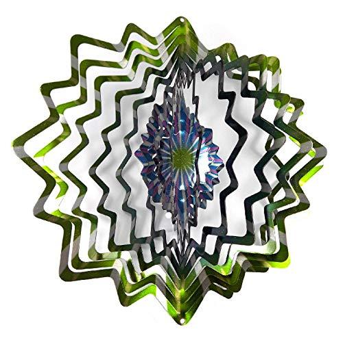 WorldaWhirl Whirligig 3D Wind Spinner Hand Painted Stainless Steel Twister Star (6.5