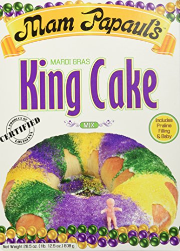 (Mam Papaul's Mardi Gras King Cake Kit with Praline Filling, 18 Servings - 28.5 ounce )