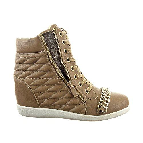 Sopily - Scarpe da Moda Sneaker Zeppa alti alla caviglia donna trapuntata catena metallico zip Tacco zeppa 8 CM - soletta tessuto - Taupe