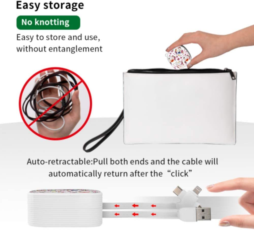 Fast Charge Multi Cable Lovely Little Animals and Cherry Blossoms Multi 3 in 1 Retractable Charger USB Cable with Micro USB//Type C Compatible with Cell Phones Tablets and More