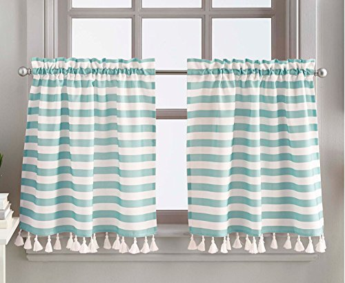 CHF 2-pc. Charlotte Stripe Window Tier 2 Pc. Set Blue
