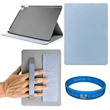 Fashionable Armour Print design Ultra Thin Magnetic Smart (wake / sleep Function) Flip Stand Cover & Back Case with Card slot & Hand Strap For Apple iPad Air 2 (Blue) + SumacLife Wisdom Courage Wristband
