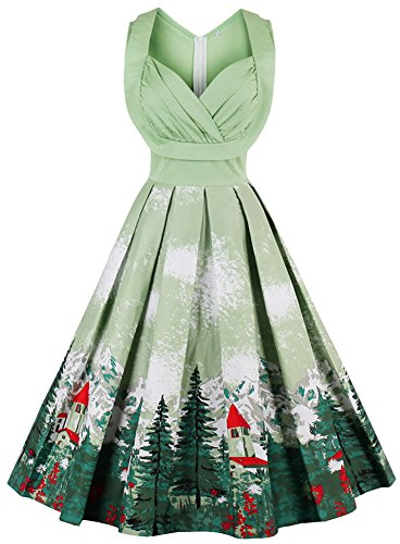 LUNAJANY Women's Floral 1940s Vintage Audrey Hepburn Pleated Cocktail Party Dress L (Vintage Christmas)